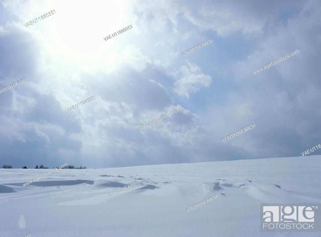Stock Photo: A Snowy Field And The Sun.