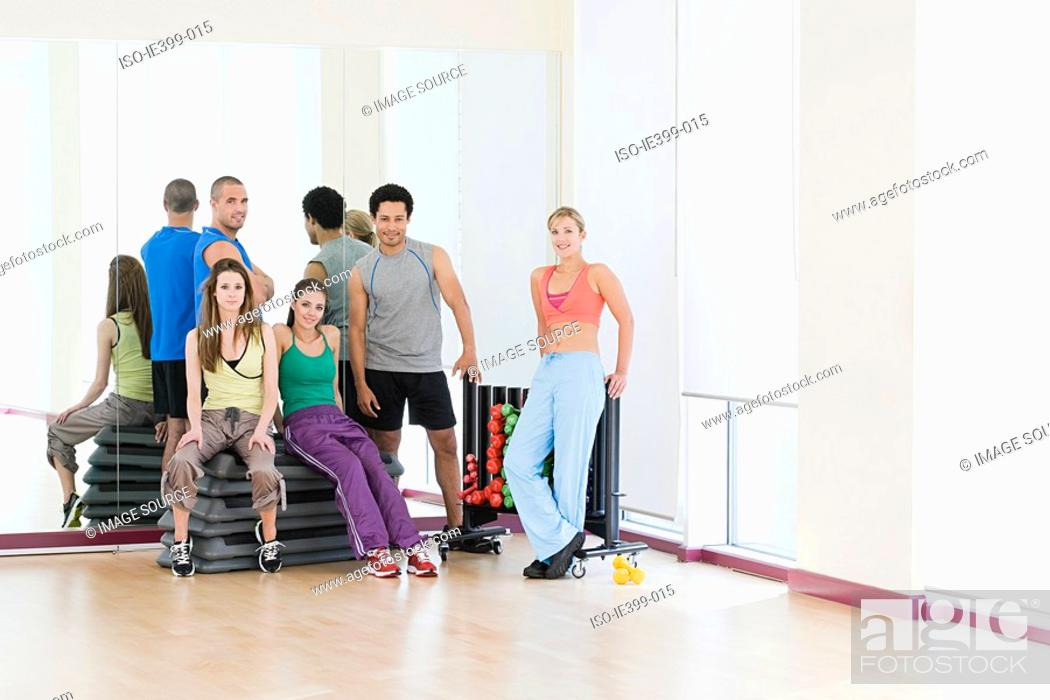 Stock Photo: People in exercise studio.