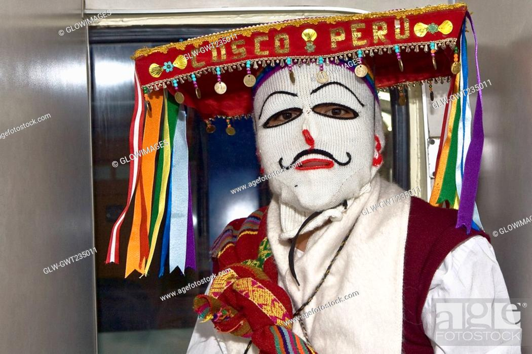 Stock Photo: Portrait of a man wearing a traditional costume, Aguas Calientes, Cusco Region, Peru.