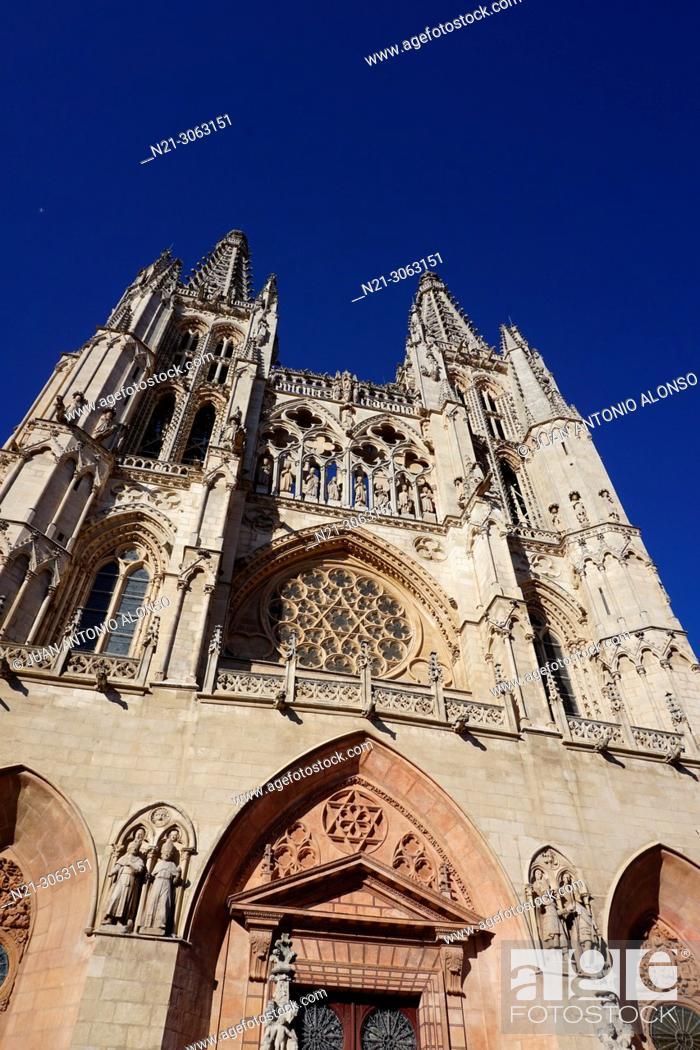 Stock Photo: Santa Iglesia Catedral Basílica Metropolitana de Santa María, Burgos, Castlla y León, Spain.