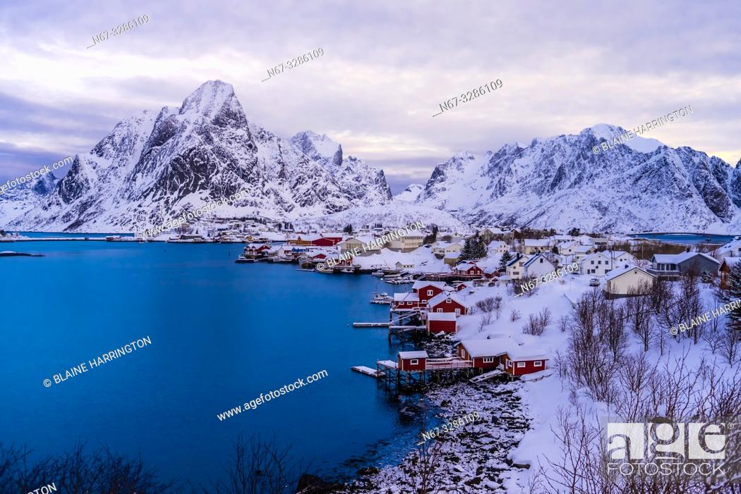Stock Photo: The fishing village of Reine, on Moskenseoya Island in the Lofoten Islands, Arctic, Northern Norway.