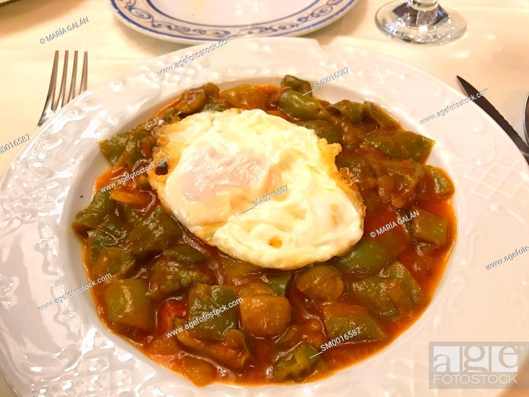 Stock Photo: Pisto manchego with fried egg. Castilla La Mancha, Spain.