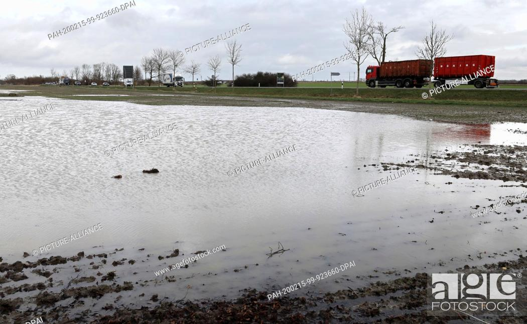 Stock Photo: 12 February 2020, Mecklenburg-Western Pomerania, Ribnitz-Damgarten: A small lake has formed on a field after the continuous rain of the past days and weeks.