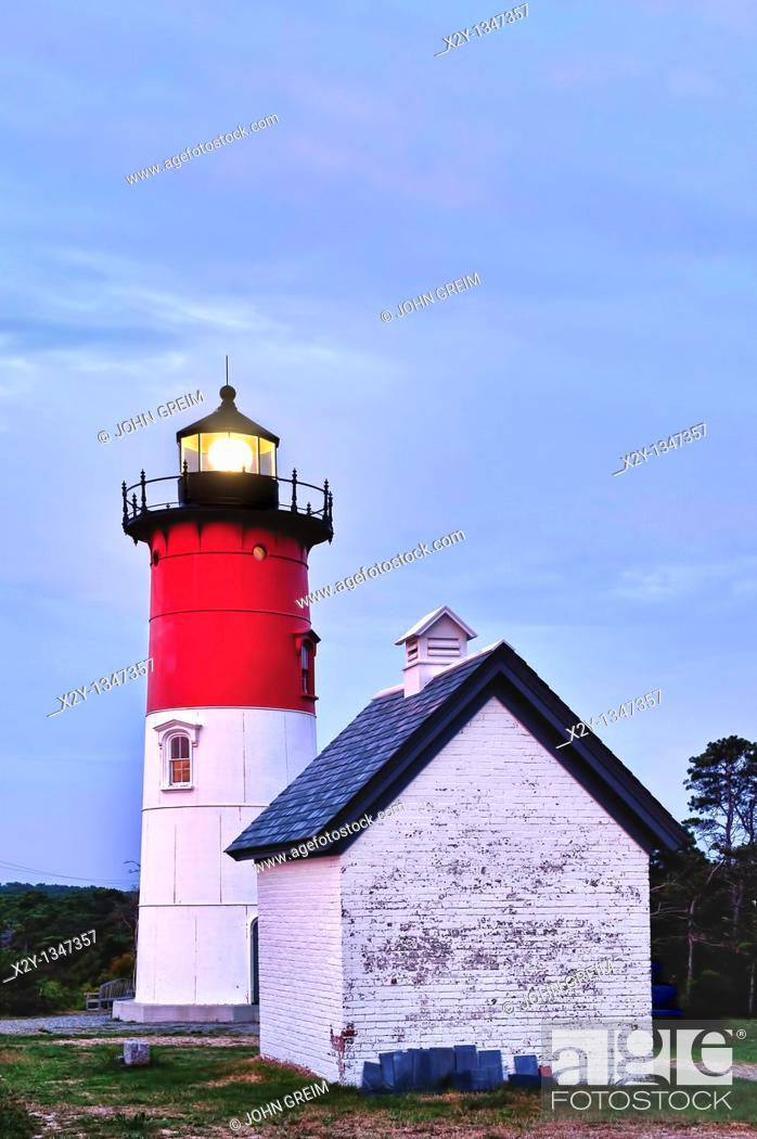 Stock Photo: Nauset Light, Cape Cod National Seashore, Eastham, Cape Cod, MA.