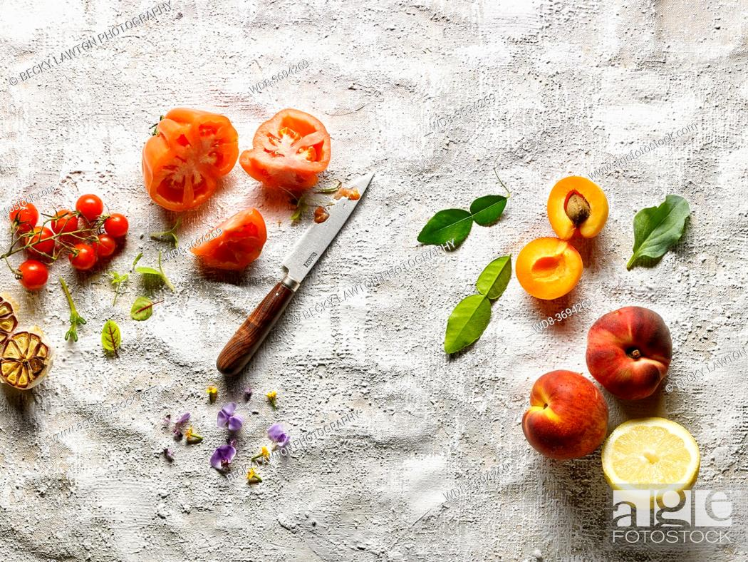 Stock Photo: Fruits and vegetables still life.