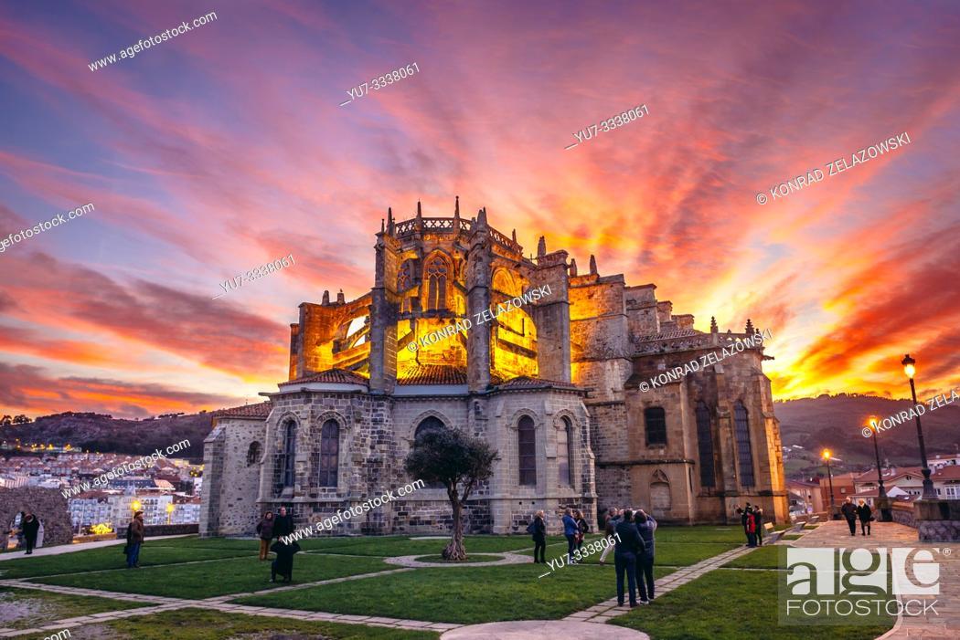 Stock Photo: Church of Santa Maria de la Asuncion in Castro Urdiales seaport in Cantabria region of Spain.
