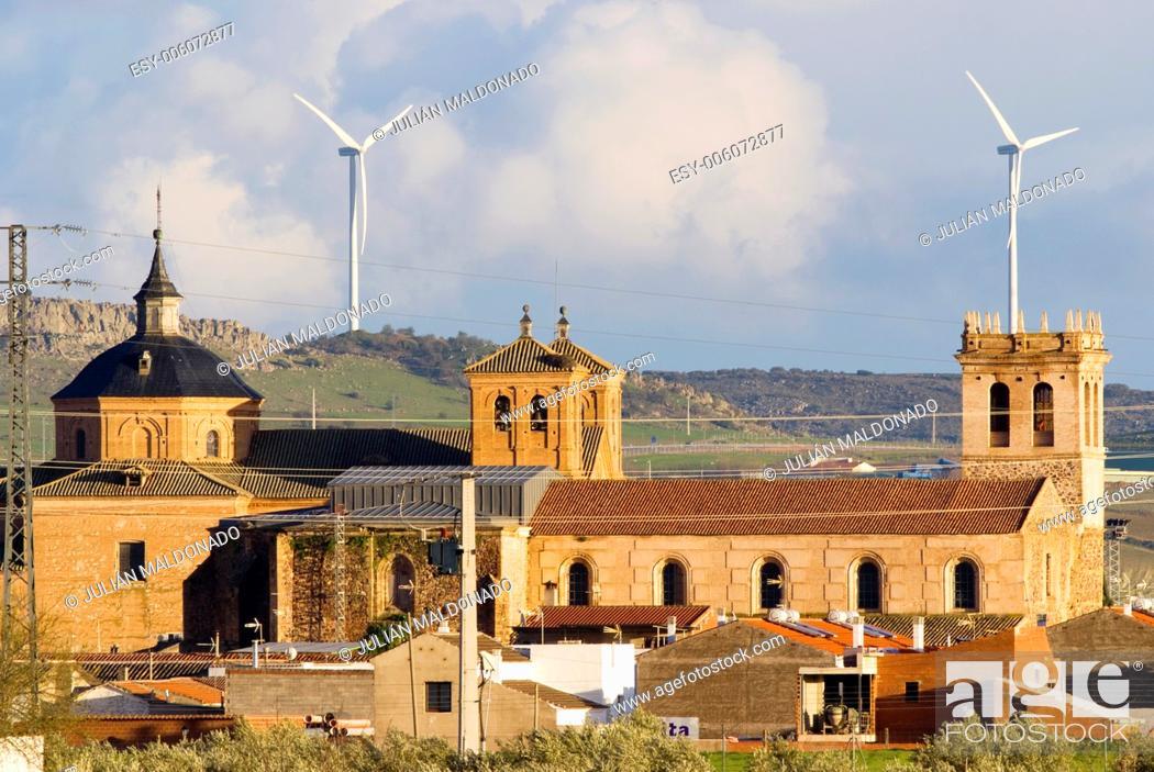 Stock Photo: San Bartolome Parish and Antígua Royal University in Almagro, Ciudad Real, Castilla La Mancha, Spain.