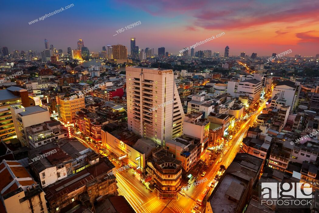 Stock Photo: Thailand - Bangkok city view at sunset time, view from Grand China Princess Hotel, Bangkok.
