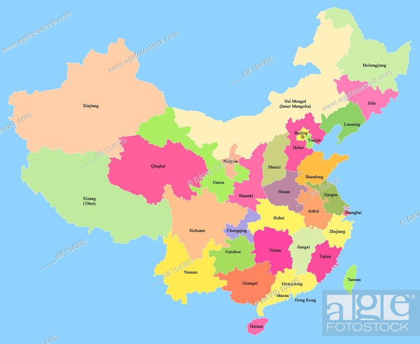 Stock Photo: Map of China with showing the provinces, autonomous regions and municipalities, with a clipping path, isolated on a blue background.
