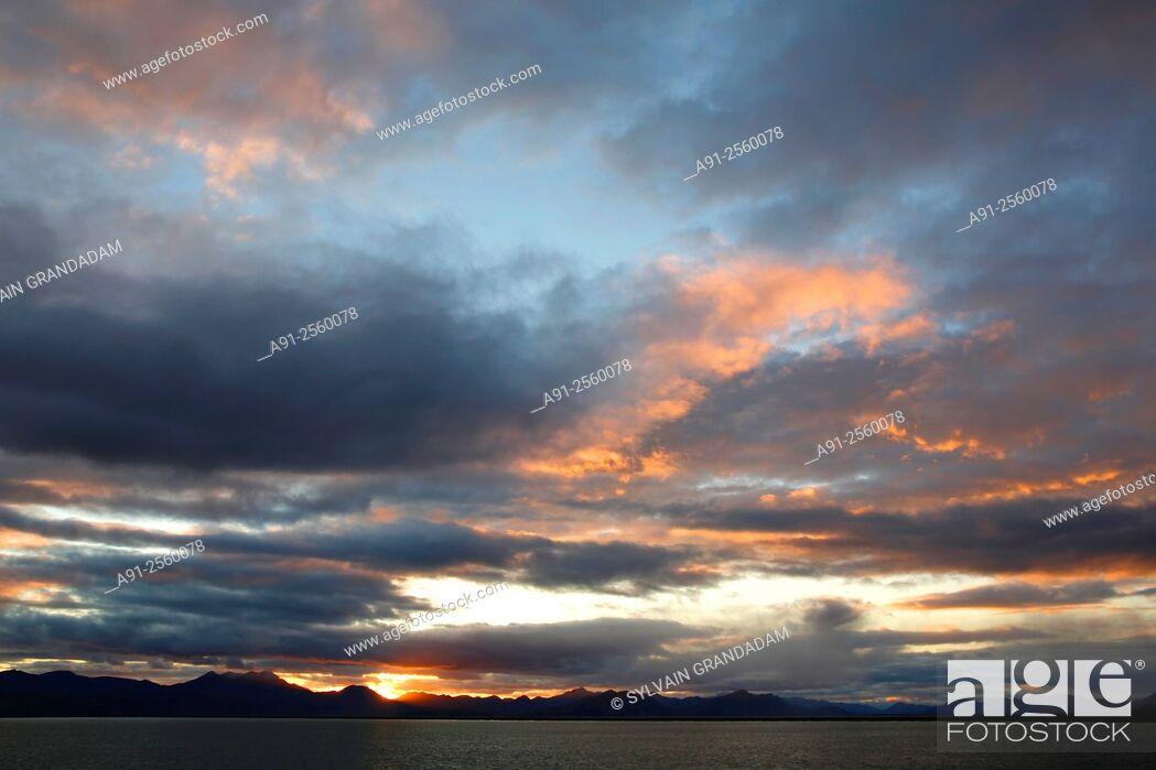 Stock Photo: Kamchatka Cruise on Ponant company Soleal cruise ship, departure from Nome, Alaska, to Petropavlosk, sunset.