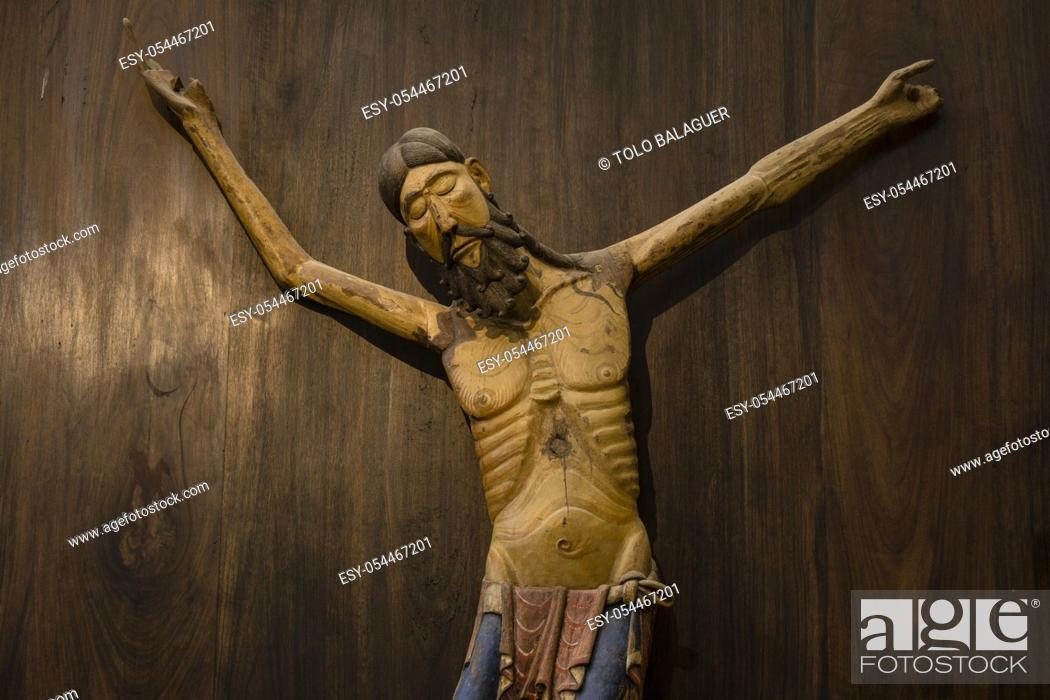 Stock Photo: cristo de Siresa, talla en madera de nogal policromada, sigloXIII, iglesia del monasterio de San Pedro, siglos XI-XII, Siresa, valle de Hecho, pirineo aragones.