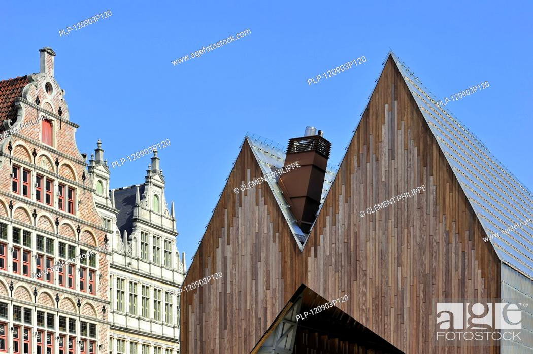 Stock Photo: The modern Gentse Stadshal / Ghent Market Hall in the historic center of Ghent, Belgium.