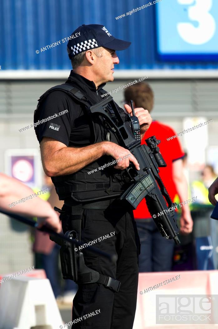 Stock Photo: Police presence ahead of the UEFA Womens Champions League Final at the Cardiff City Stadium where Olympique Lyonnais take on Paris Saint Germain Featuring:.