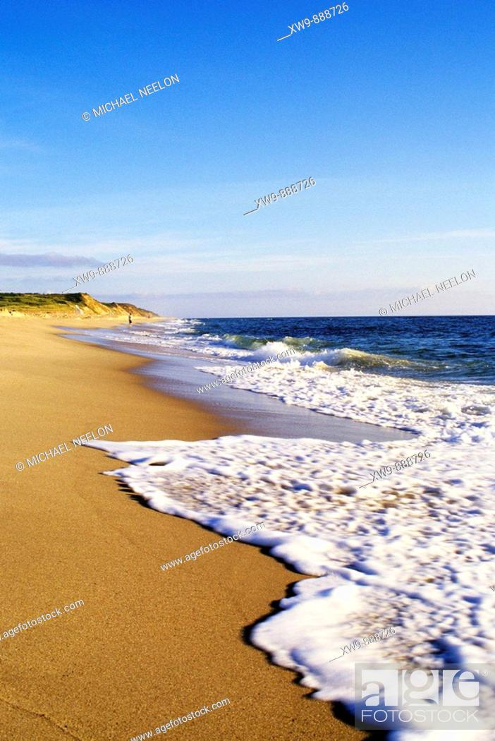 Stock Photo: Surf at Nauset beach in the Cape Cod National Seashore in Eastham.