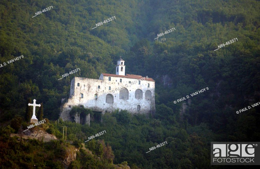 Stock Photo: Church on hillside. Sicily, Italy.