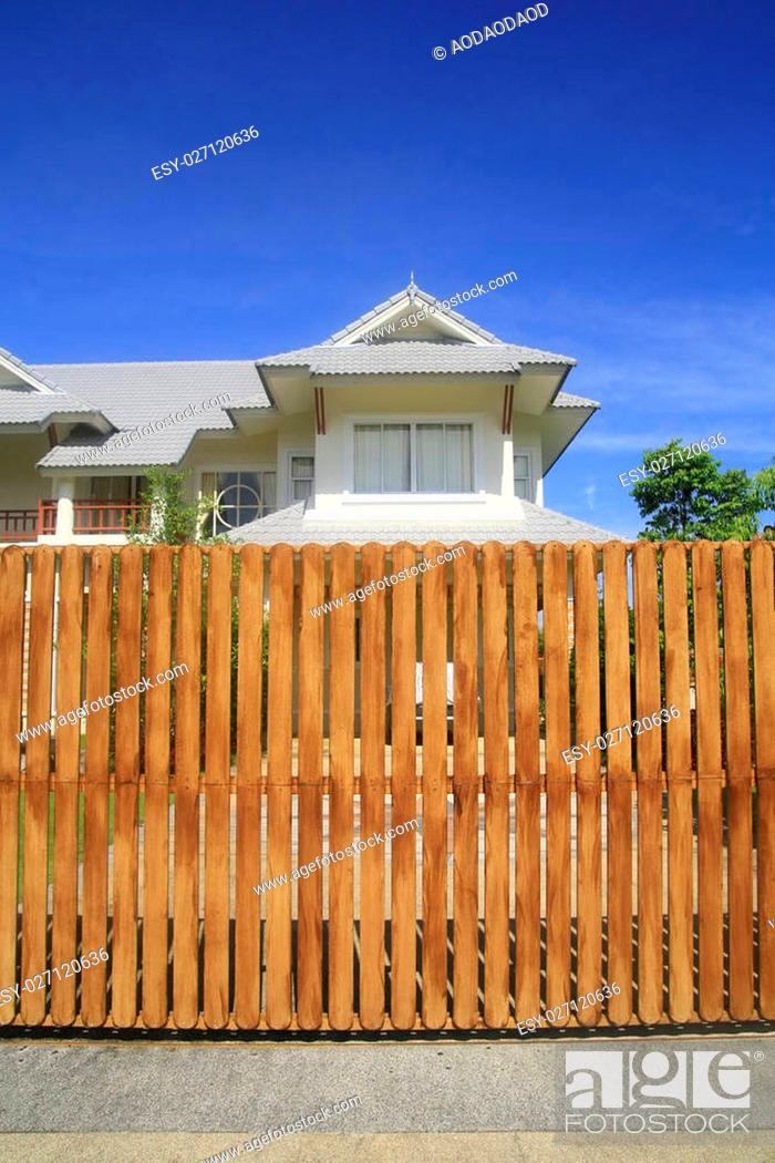 Stock Photo: wooden house fence.