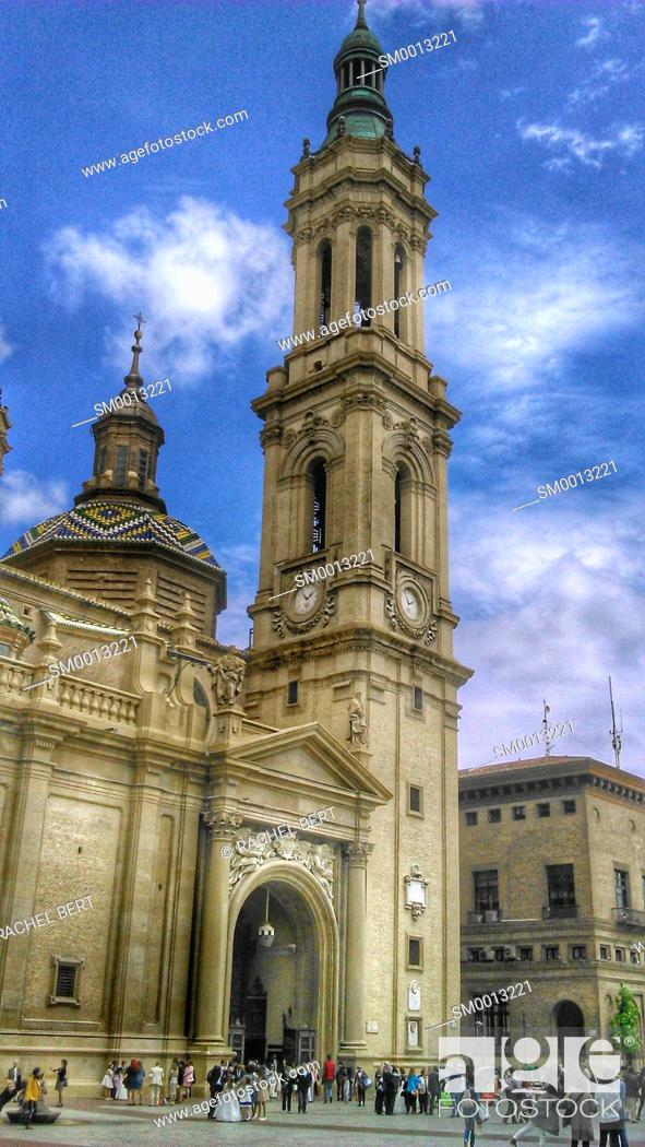 Stock Photo: Basilica del Pilar, Saragossa, Aragon, Spain.