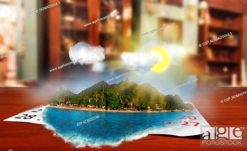 Stock Photo: Calendar with beautiful landscape on the table.