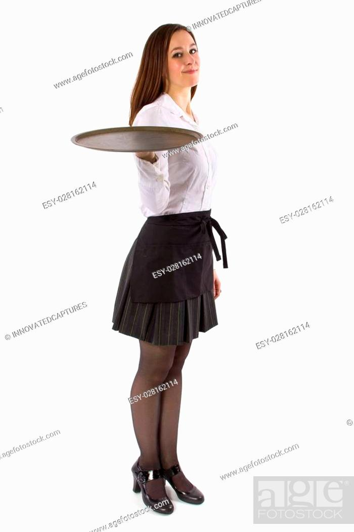 Photo de stock: young female waitress holding blank tray for composites.