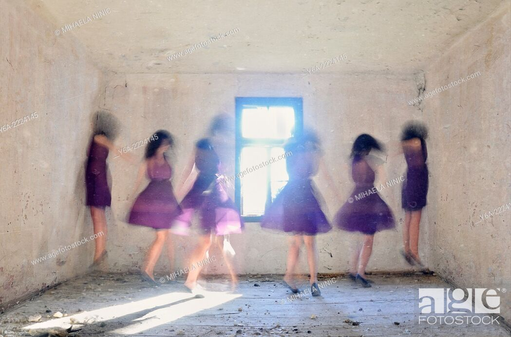 Stock Photo: Multiple exposure of a young woman dancing.