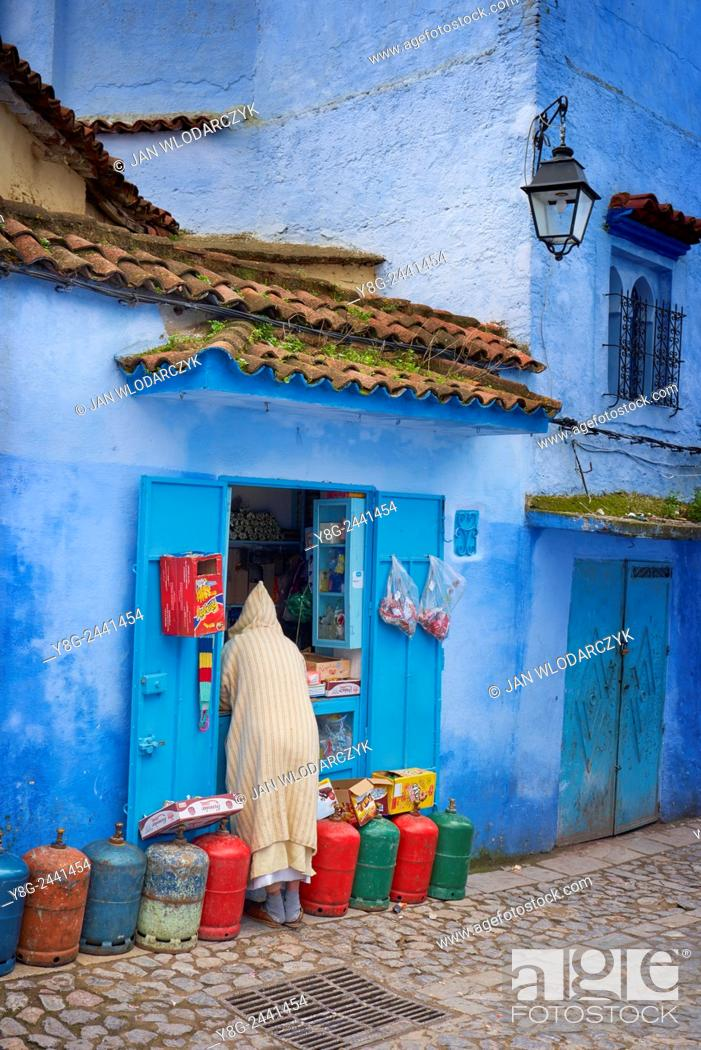Stock Photo: Chefchaouen (Chaouen), houses in this city are painted on blue color. Morocco.