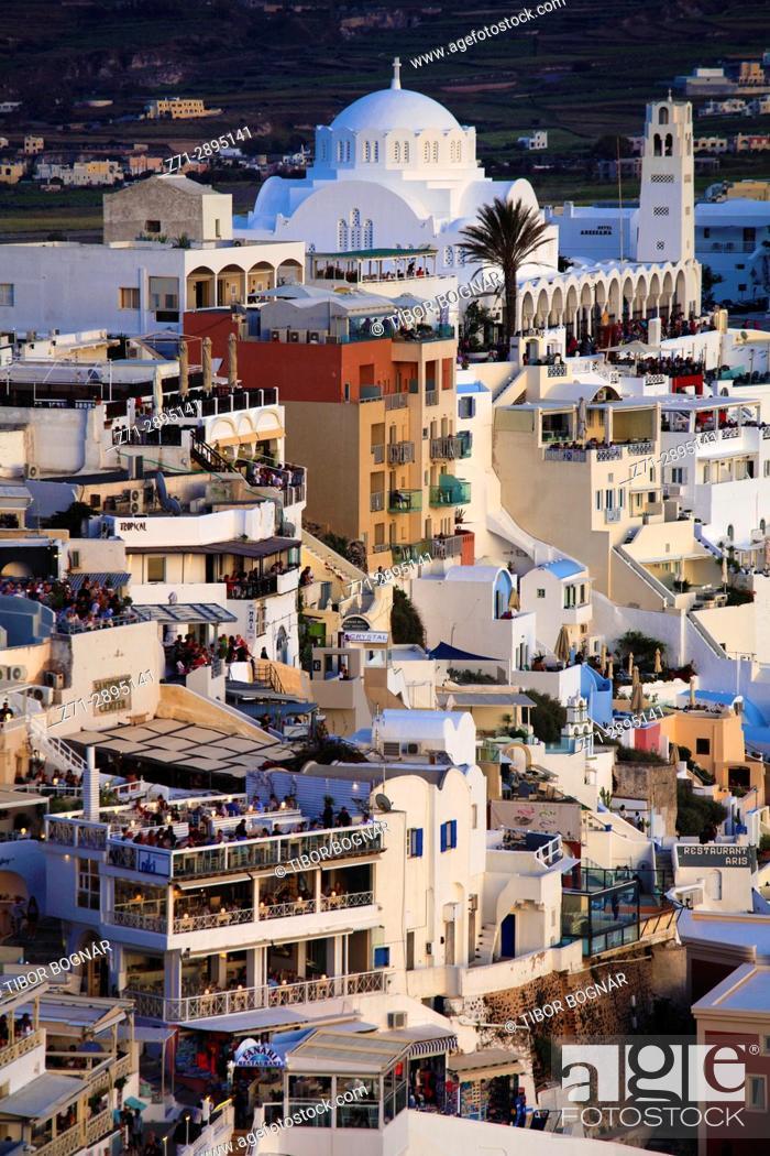 Imagen: Greece, Cyclades, Santorini, Fira, skyline, general view, .