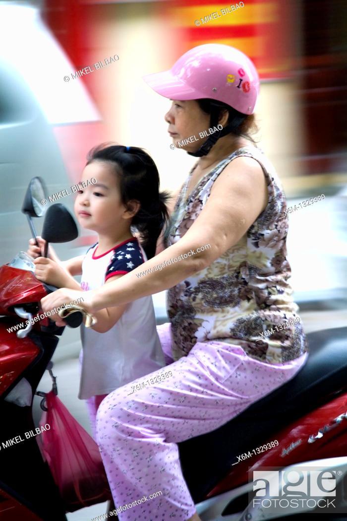 Stock Photo: motorbike traffic  Hanoi, Vietnam.