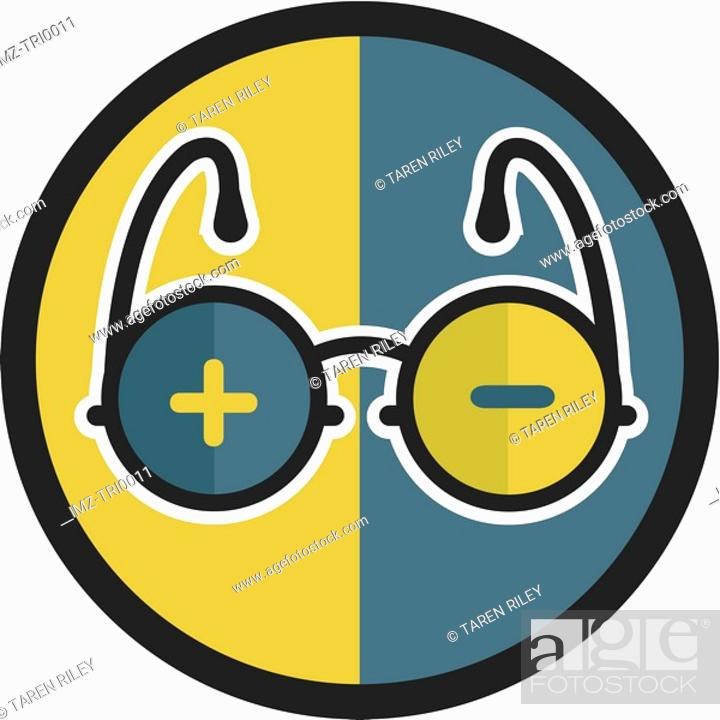Stock Photo: Glasses with positive and negative symbols.