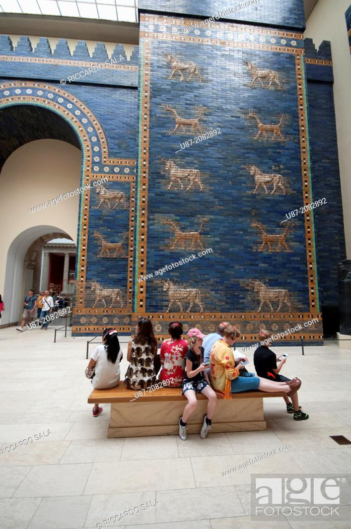 Stock Photo: Germany, Berlin, Pergamon Museum, Ishtar Gate of the Ancient City of Babylon.