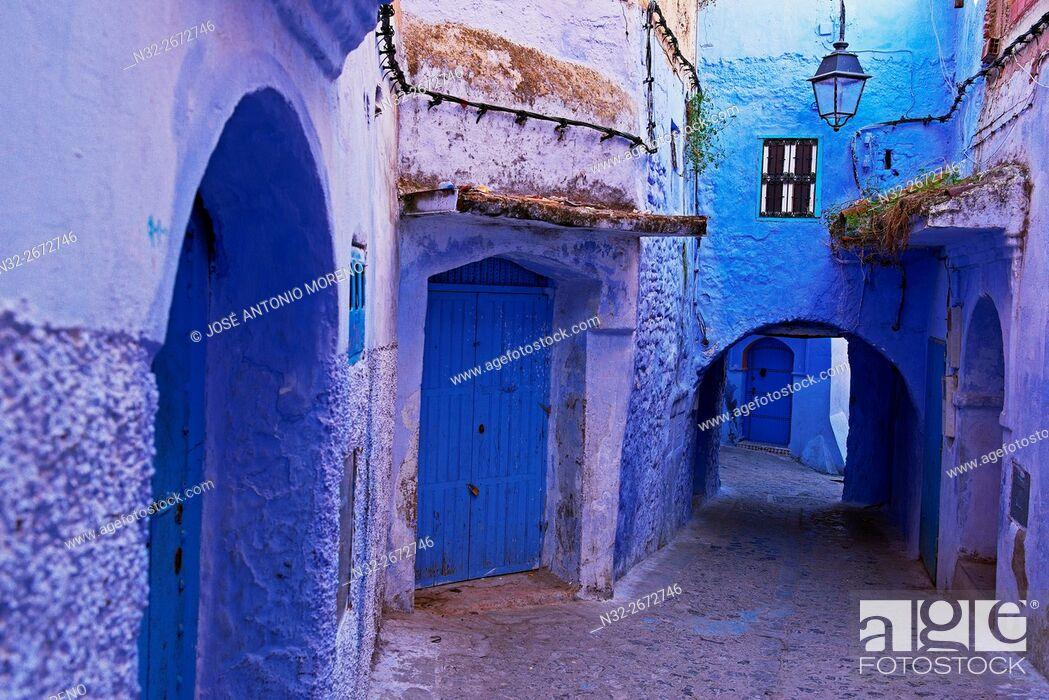 Stock Photo: Chefchaouen, Xaouen, Medina, Rif region, Morocco, North Africa.