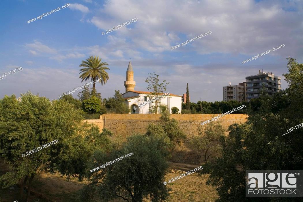 Bayraktar Mosque and historic city wall, Lefkosia, Nicosia