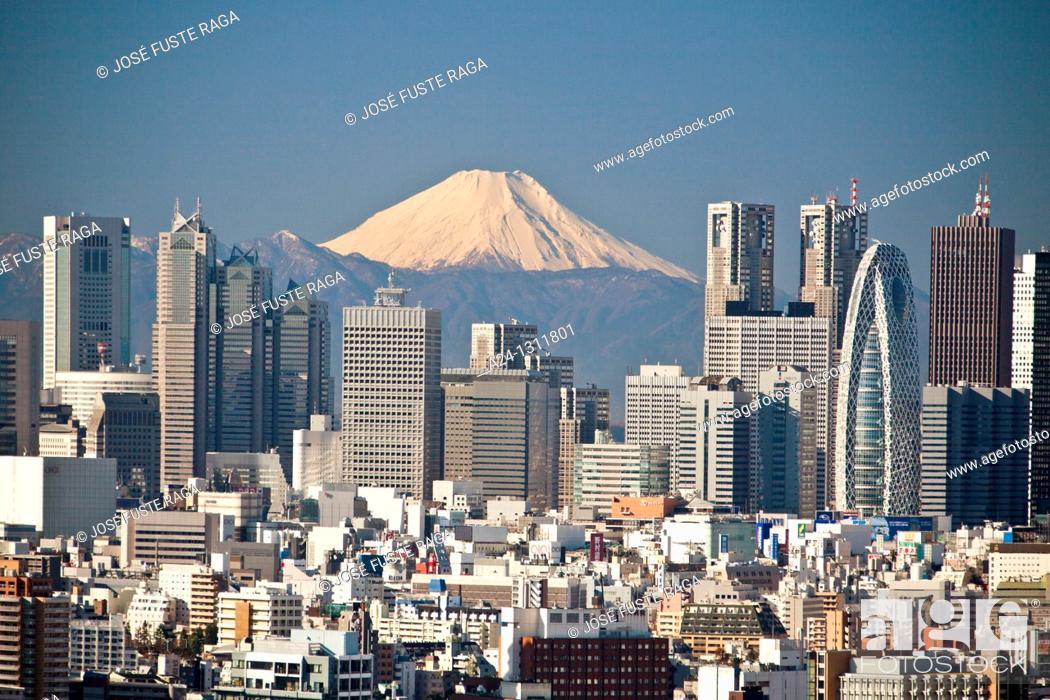 Imagen: Tokyo City, Shinjuku District and Mount Fuji.