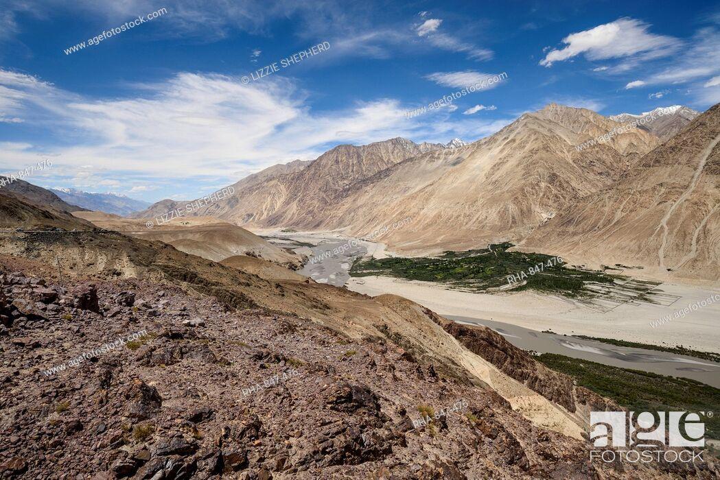 Stock Photo: Looking down towards Khalsar village in the Nubra Valley, Khalsar, Ladakh, India, Asia.