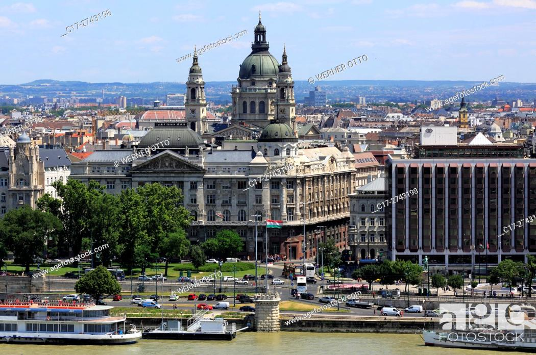 Stock Photo: Hungary, Central Hungary, Budapest, Danube, Capital City, panoramic view from Buda across the Danube to Pest, ahead the interior ministry, behind the St.