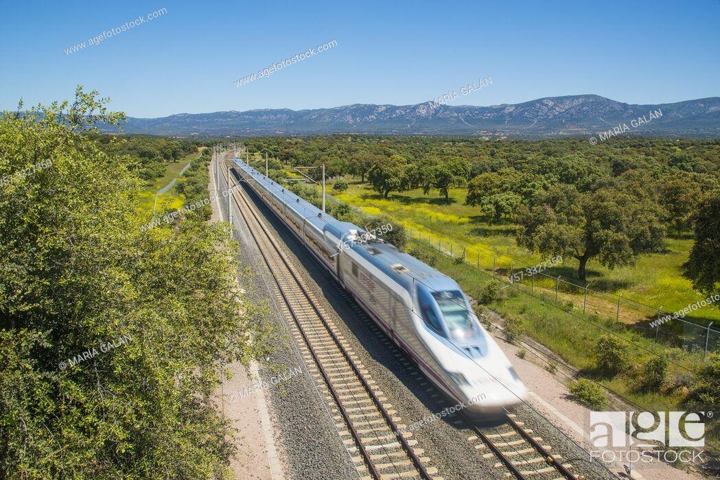 Imagen: AVE high speed train traveling along Valle de Los Pedroches. Sierras de Cardeña y Montoro Nature Reserve, Cordoba province, Andalucia, Spain.