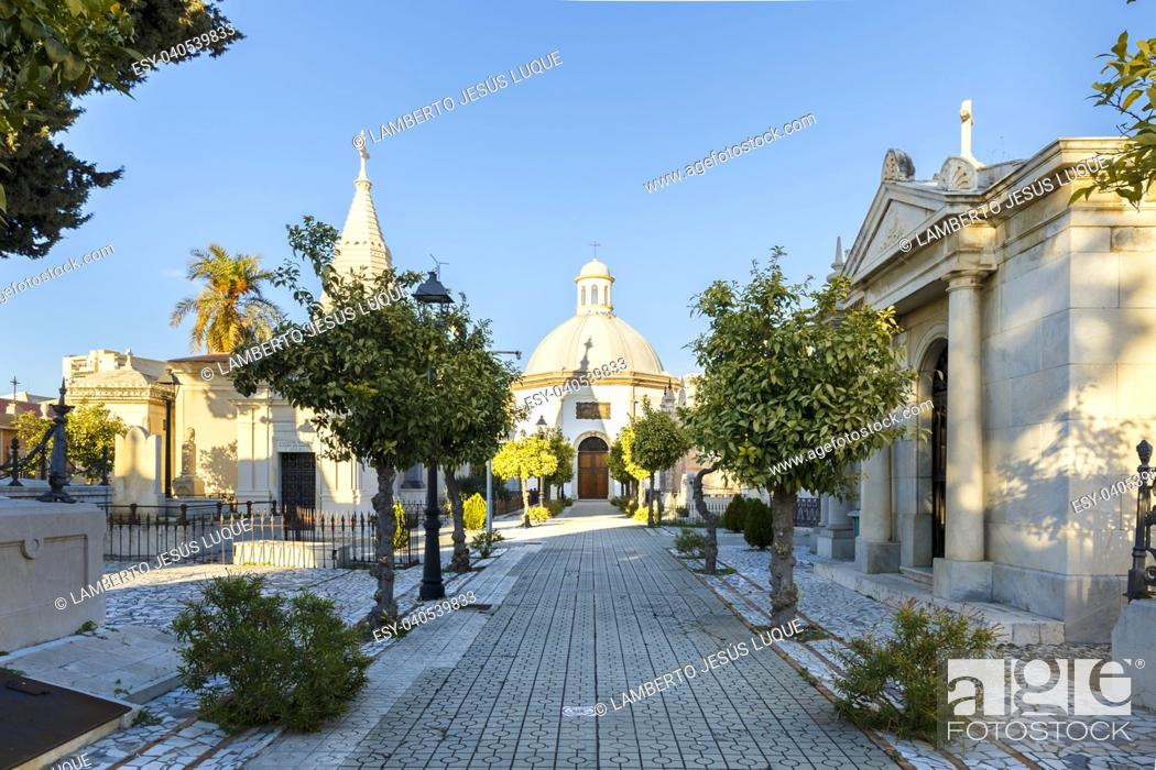 Stock Photo: Chapel and mausoleums in a cemetery in Malaga Spain.