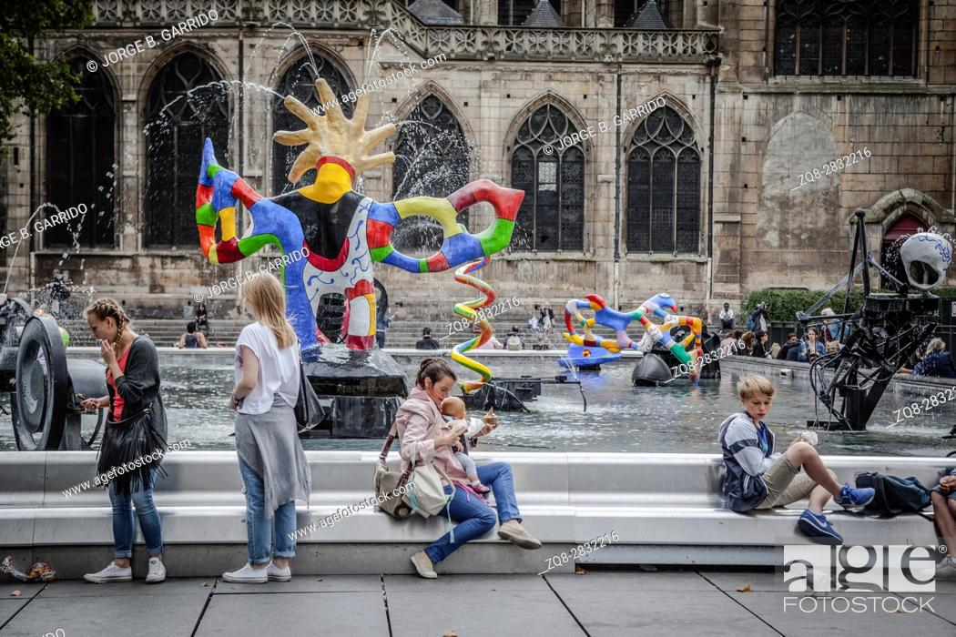 Stock Photo: Stravinsky's fountain (authors Jean Tengli and Niki de Saint-Fal), Paris, France.