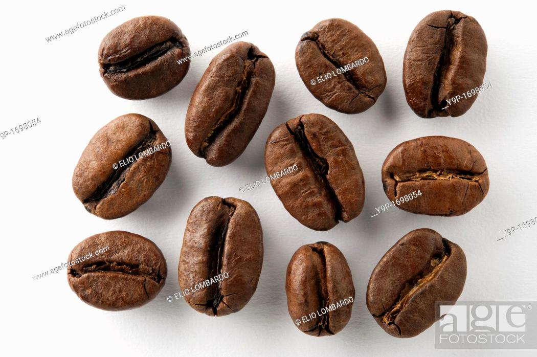 Stock Photo: Coffee Beans on White Background.