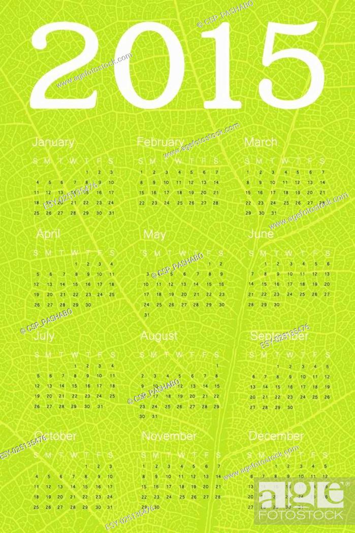 Stock Vector: Calendar 2015 on green leaf texture. Vector.