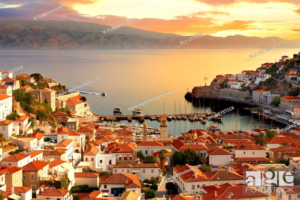 Stock Photo: The historic port of Hydra, Greek Saronic Islands.