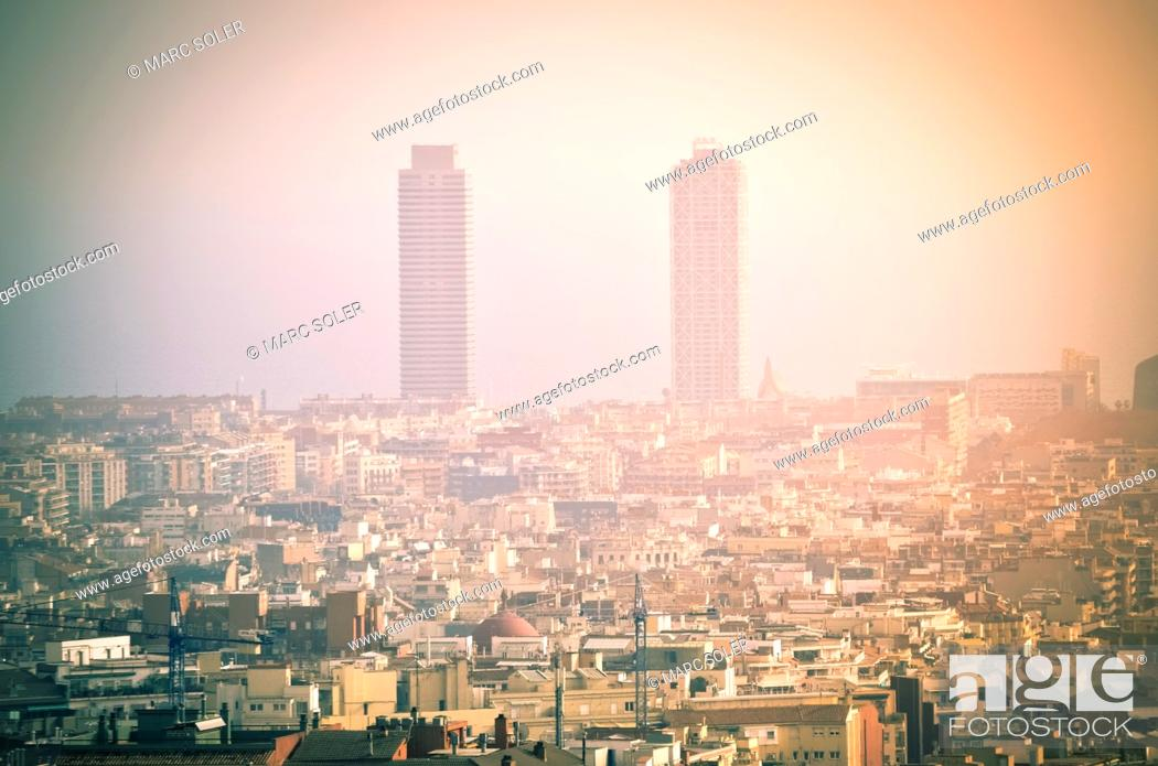 Stock Photo: Pollution in the city. Hotel Arts and Mapfre tower. Barcelona, Catalonia, Spain.