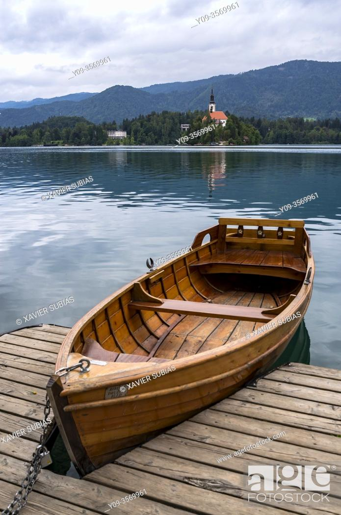 Stock Photo: Boat, Lake Bled, Slovenia.