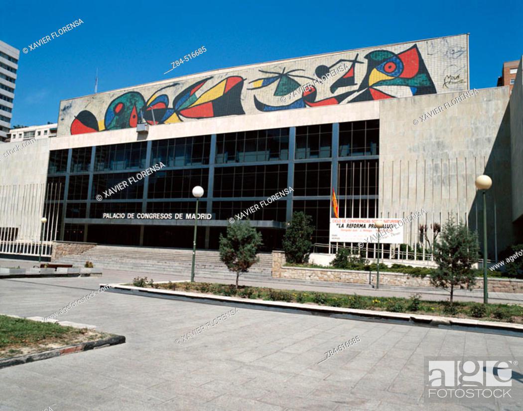 Stock Photo: Palacio de Congresos de Madrid. Architect: Pablo Pintado. Mural: J. Miro. Paseo de la Castellana. Azca financial district. Madrid.