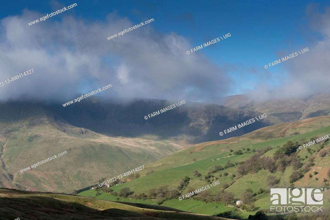 Stock Photo: Western Howgill fells from Fell End looking towards Cautley Crag in Cumbria and just inside the Yorkshire Dales National Park.