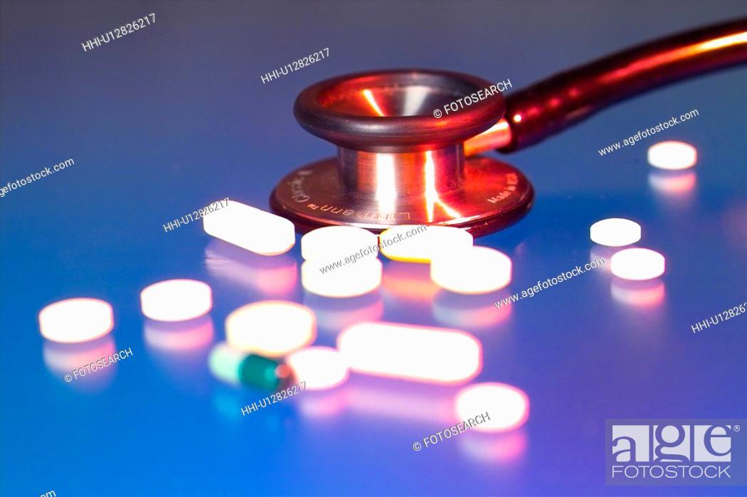 Stock Photo: medicine, stethoscope, medicare, medical service, medical treatment, drug.