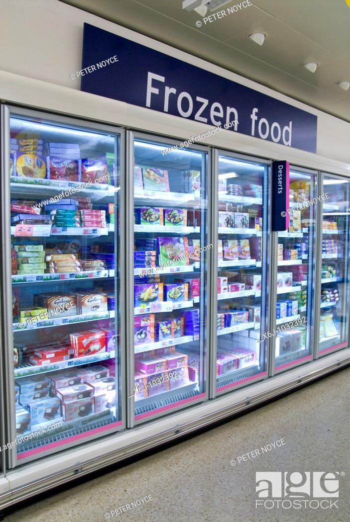Stock Photo: Sainsbury Liphook frozen food cabinets.