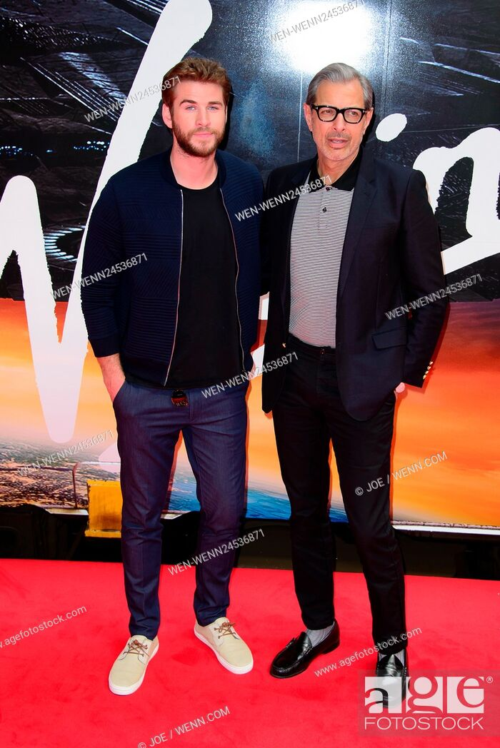 Stock Photo: 'Independence Day: Resurgence' photocall at Euston Station in London Featuring: Liam Hemsworth and Jeff Goldblum Where: London.