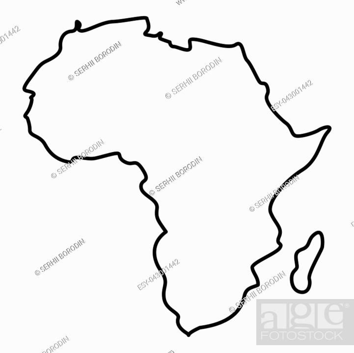 Vector: Map of Africa icon black color vector illustration flat style outline.