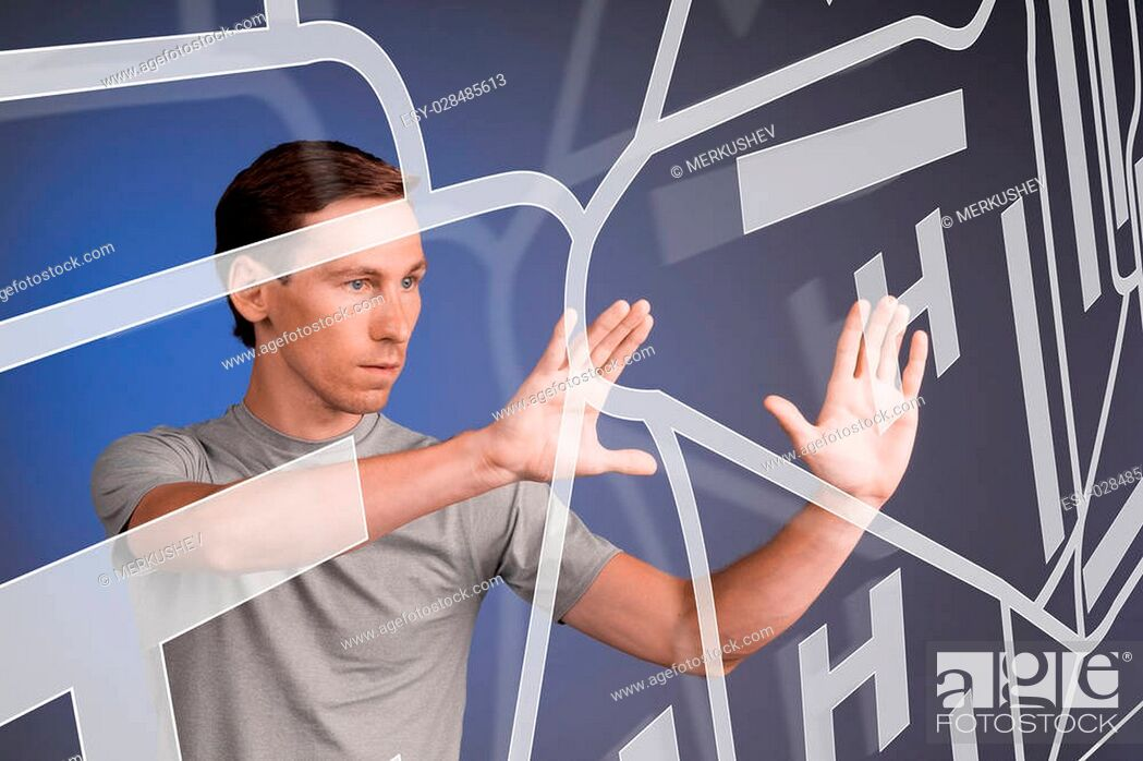 Stock Photo: Future technology, navigation, location concept. Man showing transparent screen with gps navigator map. Blue background.