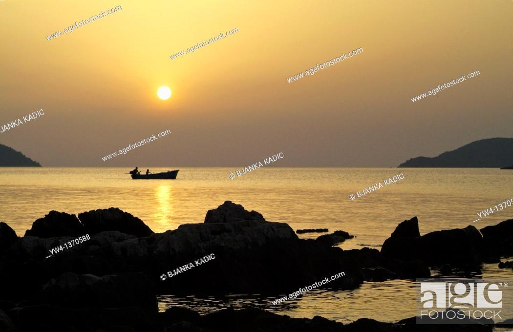 Stock Photo: Sunset in Stari Grad on Island of Hvar, Croatia.